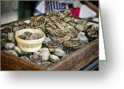 Shuck Greeting Cards - Oysters at the Market Greeting Card by Heather Applegate