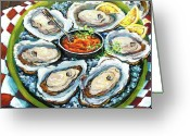 "\""still Life\\\"" Greeting Cards - Oysters on the Half Shell Greeting Card by Dianne Parks"