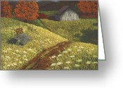 Old Barn Pastels Greeting Cards - Ozark Barn Autumn Greeting Card by Garry McMichael