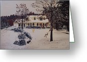 Rudolph Greeting Cards - Ozark House Christmas Snow Greeting Card by Sharon  Gonzalez