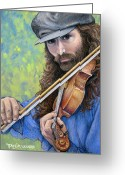 Musicians Pastels Greeting Cards - Ozark Music Man Greeting Card by Tanja Ware