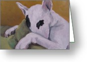 Bull Terrier Greeting Cards - Ozzi Greeting Card by Jindra Noewi
