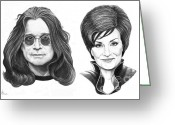 Celebrities Drawings Greeting Cards - Ozzy and Sharon Osbourne Greeting Card by Murphy Elliott