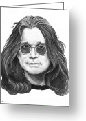 Graphite Greeting Cards - Ozzy Osbourne Greeting Card by Murphy Elliott
