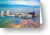 Twin Boom Greeting Cards - P-38 Lightning Greeting Card by Dale Jackson