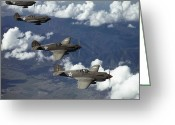 Army Air Corps Greeting Cards - P-40 Pursuits Of The U.s. Army Air Greeting Card by Luis Marden
