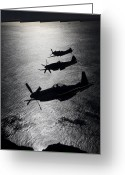 Aerial View Greeting Cards - P-51 Cavalier Mustang With Supermarine Greeting Card by Daniel Karlsson
