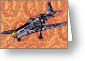 Airplane Greeting Cards - P-51 Greeting Card by Karl Frey