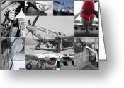Eto Greeting Cards - P-51 Mustang Fighter Collage Greeting Card by Don Struke