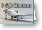 Cinema 4d Greeting Cards - P-51B Mustang Greeting Card by Dale Jackson