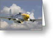 Classic Greeting Cards - P51 Ferocious Frankie Greeting Card by Pat Speirs
