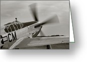 Mac Miller Greeting Cards - P51 Mustang Takeoff Ready Greeting Card by M K  Miller
