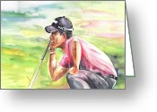 Miki Golf Art Greeting Cards - Pablo Larrazabal winning The BMW Open in Germany in 2011 Greeting Card by Miki De Goodaboom