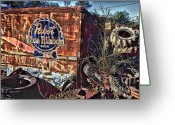 Photographers Ellipse Greeting Cards - Pabst Blue Ribbon Delievery Truck Greeting Card by Corky Willis Atlanta Photography