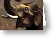 Trumpet Glass Greeting Cards - Pachyderm 1 Greeting Card by Jerry LoFaro