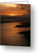Surf Silhouette Greeting Cards - Pacific Coastal Sunset Costa Rica Greeting Card by Michelle Wiarda