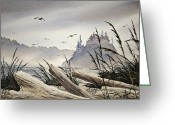 Print Landscape Greeting Cards - Pacific Northwest Driftwood Shore Greeting Card by James Williamson