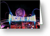Night Shots Greeting Cards - Pacific Park Greeting Card by John Rizzuto