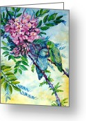 Most Painting Greeting Cards - Pacific Parrotlets Greeting Card by Zaira Dzhaubaeva