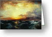 Masterpiece Painting Greeting Cards - Pacific Sunset Greeting Card by Thomas Moran