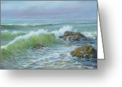 Ocean Landscape Pastels Greeting Cards - Pacific Waves Greeting Card by Diane Breuer