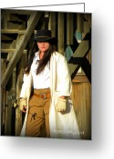 Western Clothing Greeting Cards - Packin Heat Greeting Card by Carolyn Krek