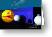 Arcade Digital Art Greeting Cards - PACMAN Madness Greeting Card by Tony Cooper