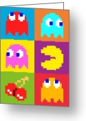 Retro Greeting Cards - PacMan Squares Greeting Card by Michael Tompsett