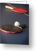 Table Tennis Greeting Cards - Paddles and Ball Greeting Card by Frank Mari