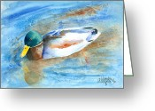 Mallards Greeting Cards - Paddling Along Greeting Card by Arline Wagner