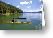 Bayview Greeting Cards - Paddling on Lake Pend Oreille  Greeting Card by Bill Schaudt