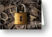 Protect Greeting Cards - Padlock over keys Greeting Card by Carlos Caetano