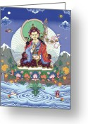 Iconography Painting Greeting Cards - Padmasambhava Greeting Card by Carmen Mensink