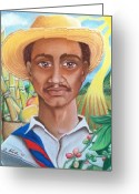 Sugar Pastels Greeting Cards - Padre Tierra Greeting Card by Xiomara Aleksic