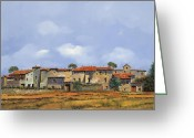 Sunny Painting Greeting Cards - Paesaggio Aperto Greeting Card by Guido Borelli