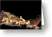 Black Print Greeting Cards - Paesaggio Scuro Greeting Card by Guido Borelli