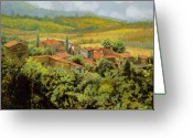 Cypress Tree Greeting Cards - Paesaggio Toscano Greeting Card by Guido Borelli