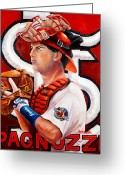 St.louis Cardinals Greeting Cards - Pagnozzi Greeting Card by Jim Wetherington