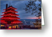 Berks County Greeting Cards - Pagoda Sunset Greeting Card by Keith Tademy