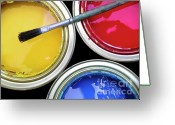 Can Art Greeting Cards - Paint Cans Greeting Card by Carlos Caetano