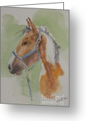 Equine Watercolor Portrait Greeting Cards - Paint I Greeting Card by Gretchen Bjornson
