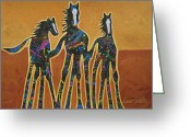 Dallas Cowboys Painting Greeting Cards - Paint My Ponies Greeting Card by Lance Headlee