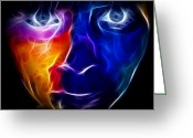 Face. Colorful Greeting Cards - Paint Runs in My Blood Greeting Card by Pamela Johnson