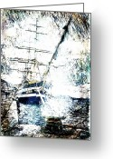 Sails Digital Art Greeting Cards - Painted Amerigo Vespucci Greeting Card by Andrea Barbieri