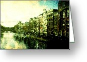 Cycles Digital Art Greeting Cards - Painted Amsterdam Greeting Card by Andrea Barbieri