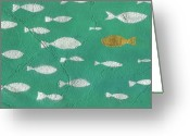 Illustration Greeting Cards - Painted Background Greeting Card by John Foxx