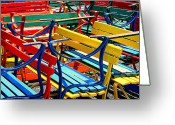 Park Benches Greeting Cards - Painted Benches Greeting Card by Perry Webster