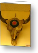 Red Cedar Sculpture Greeting Cards - Painted Bison Skull Greeting Card by Austen Brauker