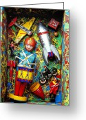 Motorcycle Photo Greeting Cards - Painted box full of old toys Greeting Card by Garry Gay