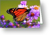 Award Winning Digital Art Greeting Cards - Painted Butterfly Greeting Card by David Kehrli